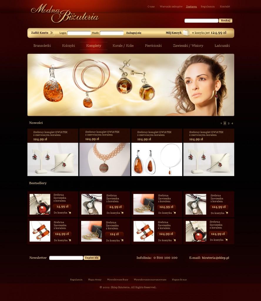Szablon sklepu z biżuterią na sprzedaż